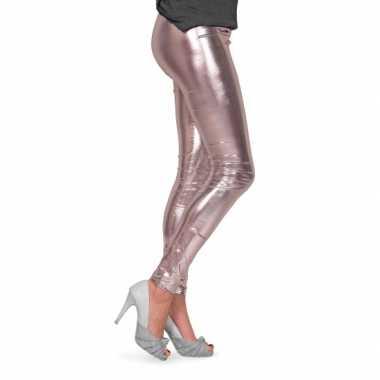 Foute feestartikelen glimmende zilveren dames legging kleding