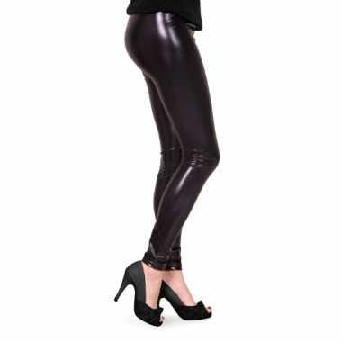 Foute feestartikelen glimmende zwarte dames legging kleding