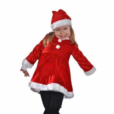 Foute fluwelen rood met witte meisjes kerstjurkje kleding