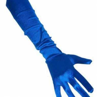 Foute gala handschoenen blauw 48 cm kleding