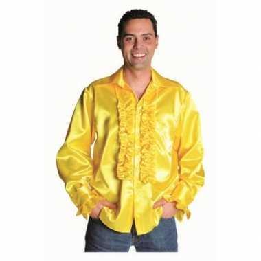 Foute geel heren overhemd met rouches kleding