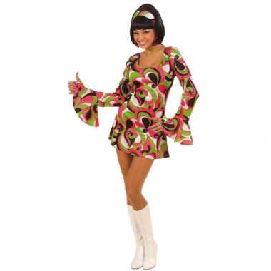 Foute gekleurd dames jurk jaren 60 kleding