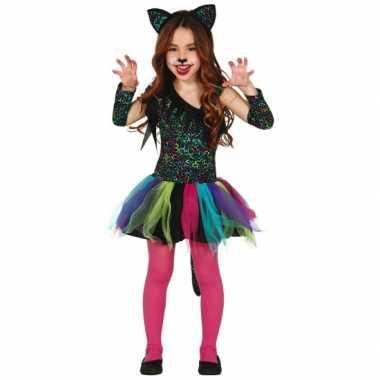 Foute gekleurd katten jurkje meisjes kleding