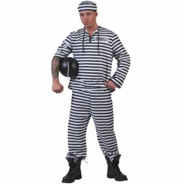 Foute gevangenen pak gestreept met pet kleding
