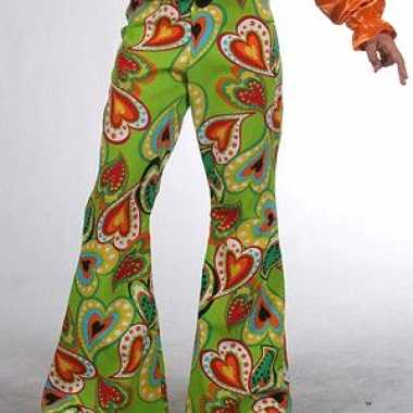 Foute groene kinderbroek hippie hartjes kleding