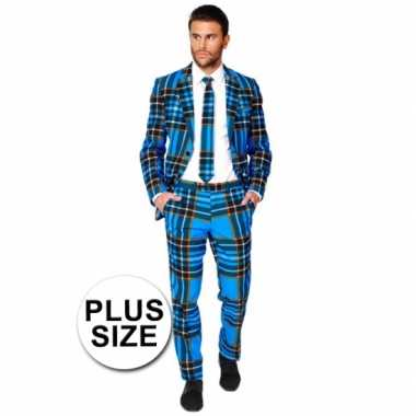 Foute grote maten business suit schotse print kleding