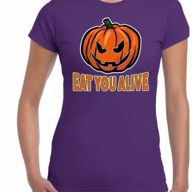 Foute halloween eat you alive t shirt paars voor dames kleding