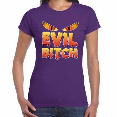 Foute halloween evil bitch t shirt paars voor dames kleding
