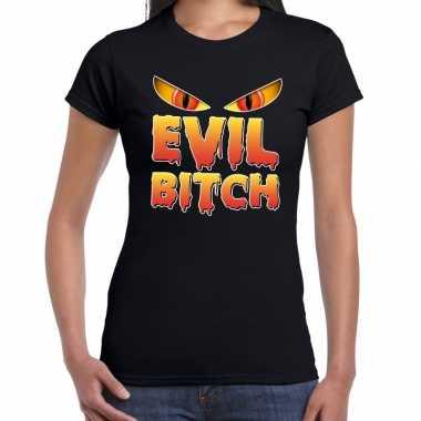 Foute halloween evil bitch t shirt zwart voor dames kleding