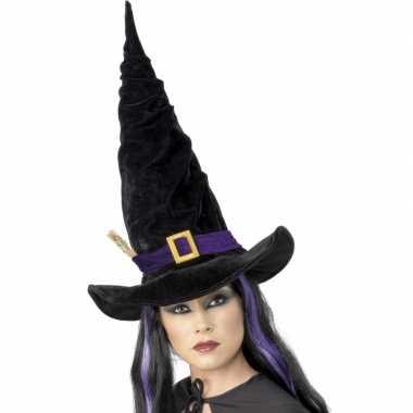 Foute halloween heksen hoed zwart met paars kleding