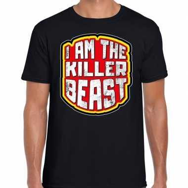 Foute halloween killer beast t shirt zwart voor heren kleding