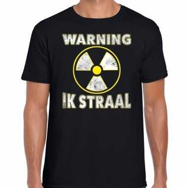 Foute halloween warning ik straal t shirt zwart voor heren kleding
