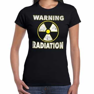 Foute halloween warning radiation t shirt zwart voor dames kleding