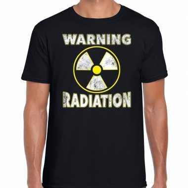 Foute halloween warning radiation t shirt zwart voor heren kleding