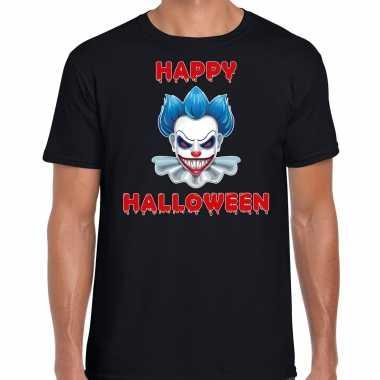 Foute happy halloween blauwe horror clown t shirt zwart voor heren kleding