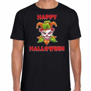 Foute happy halloween groene horror joker t shirt zwart voor heren kleding