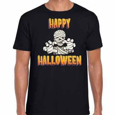 Foute happy halloween horror mummie t shirt zwart voor heren kleding