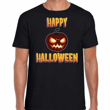 Foute happy halloween horror pompoen t shirt zwart voor heren kleding