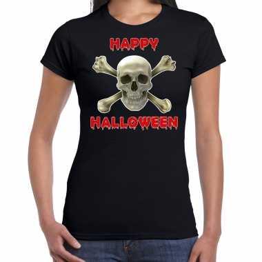 Foute happy halloween horror schedel t shirt zwart voor dames kleding