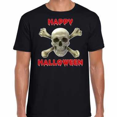 Foute happy halloween horror schedel t shirt zwart voor heren kleding