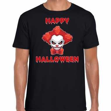 Foute happy halloween rode horror clown t shirt zwart voor heren kleding