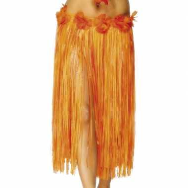 Foute hawaii rokje oranje met rode bloem kleding