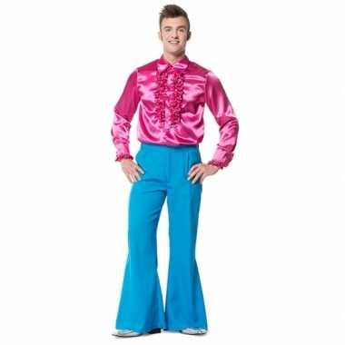 Foute hippie broek blauw met wijde pijpen voor heren kleding