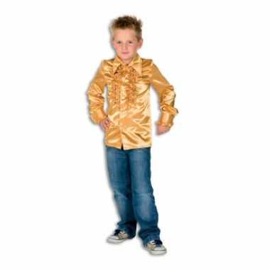 Foute hippie rouche blouse jongens goud kleding