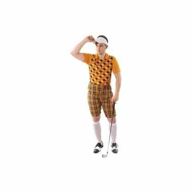 Foute kleding golfer oranje voor heren