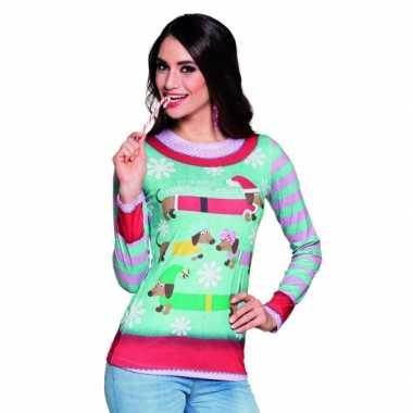 Foute kleding kerstprint dames shirt 10075237