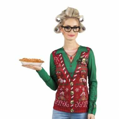 Foute kleding kerstprint dames shirt