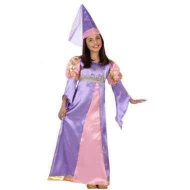 Foute kleding middeleeuws paarse prinses jurkje