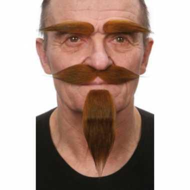 Foute kleding set bruin snor, baard en wenkbrauwen