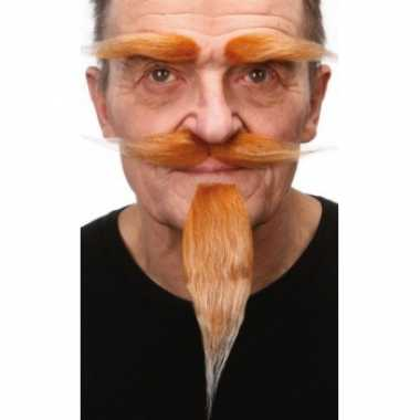 Foute kleding set rood snor baard en wenkbrauwen