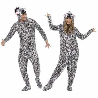 Foute kleding zebra all in one voor volwassenen