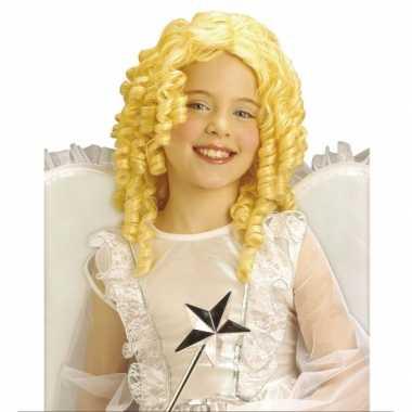 Foute krullende kinderpruik in blonde kleur kleding