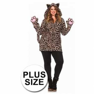 Foute luipaard jas met staart kleding