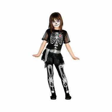Foute meisjes skelet jurk met glitters kleding