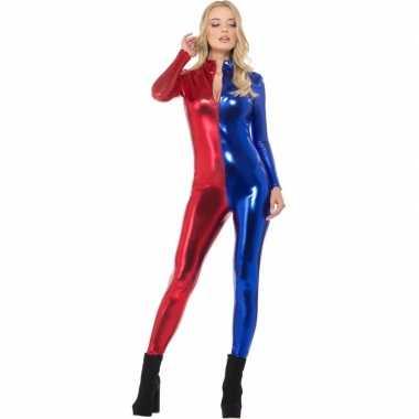 Foute metallic catsuit rood/blauw voor dames kleding