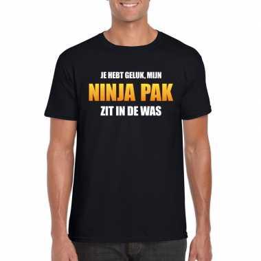 Foute ninja pak zit in de was heren carnaval t shirt zwart kleding