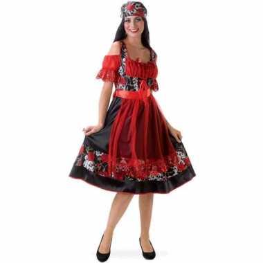 Foute oktoberfest jurkje rood met zwart kleding