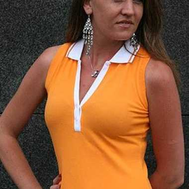 Foute oranje mouwloos dames polo shirt kleding