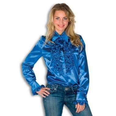 Foute overhemd blauw met rouches dames kleding