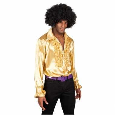 Foute overhemd goud met rouches heren kleding