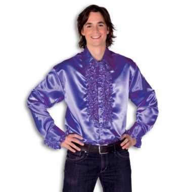 Foute overhemd paars met rouches heren kleding