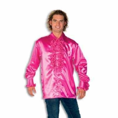 Foute overhemd roze met rouches heren kleding