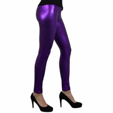 Foute party legging metallic paars kleding