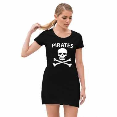 Foute piraten jurkje met doodshoofd zwart voor dames kleding