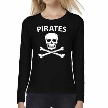 Foute pirates tekst t shirt long sleeve zwart voor dames kleding