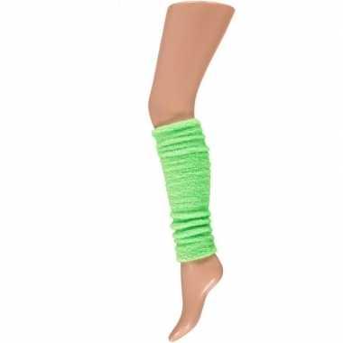 Foute pluche beenwarmers neon groen kleding